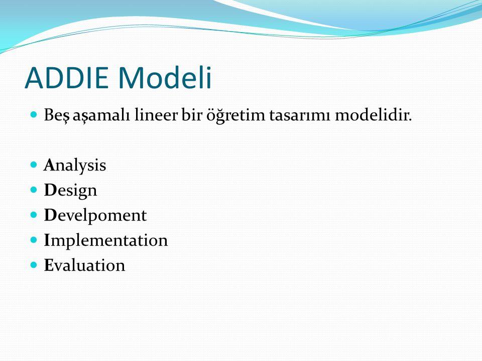 ADDIE Modeli Beş aşamalı lineer bir öğretim tasarımı modelidir.