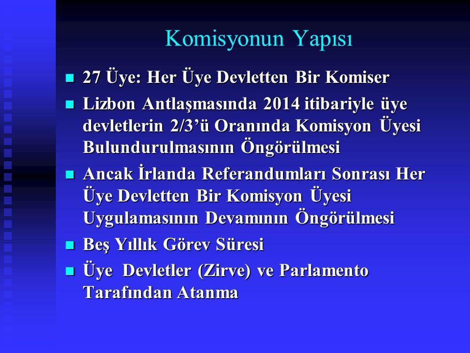 Komisyonun Yapısı 27 Üye: Her Üye Devletten Bir Komiser
