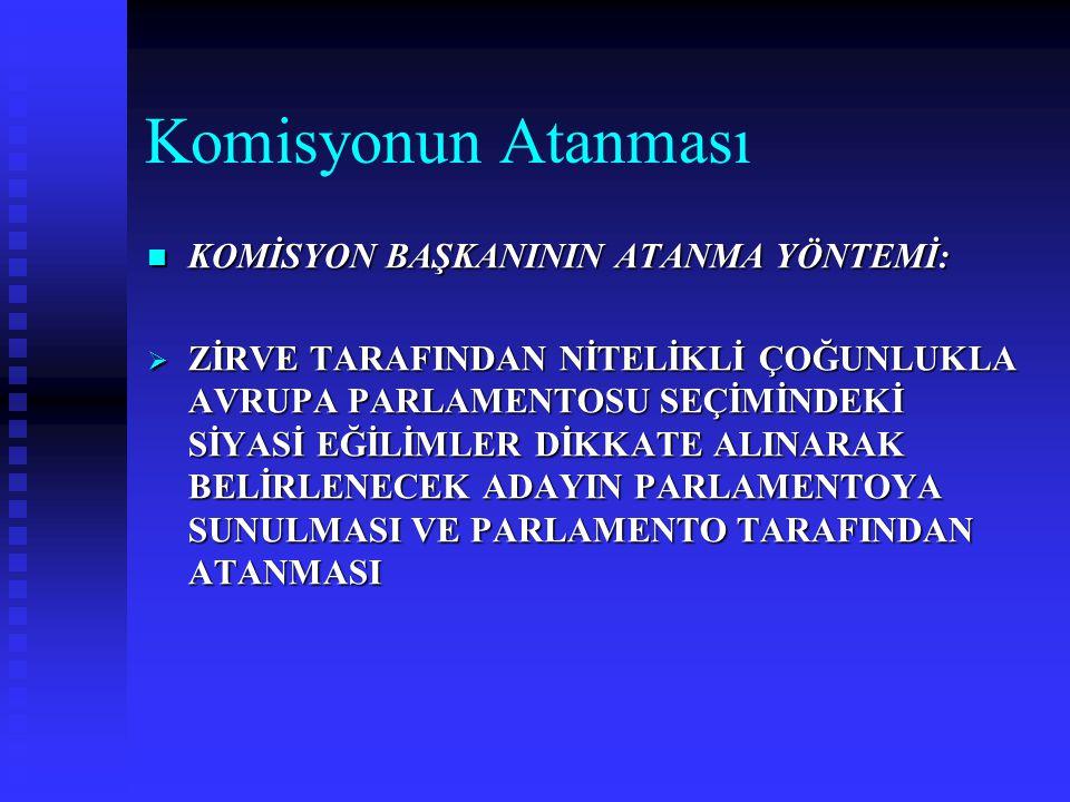Komisyonun Atanması KOMİSYON BAŞKANININ ATANMA YÖNTEMİ: