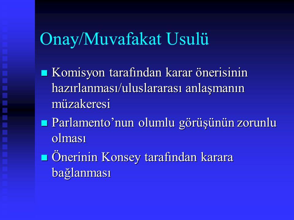 Onay/Muvafakat Usulü Komisyon tarafından karar önerisinin hazırlanması/uluslararası anlaşmanın müzakeresi.