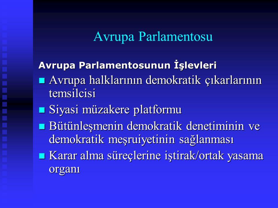 Avrupa Parlamentosu Avrupa Parlamentosunun İşlevleri. Avrupa halklarının demokratik çıkarlarının temsilcisi.