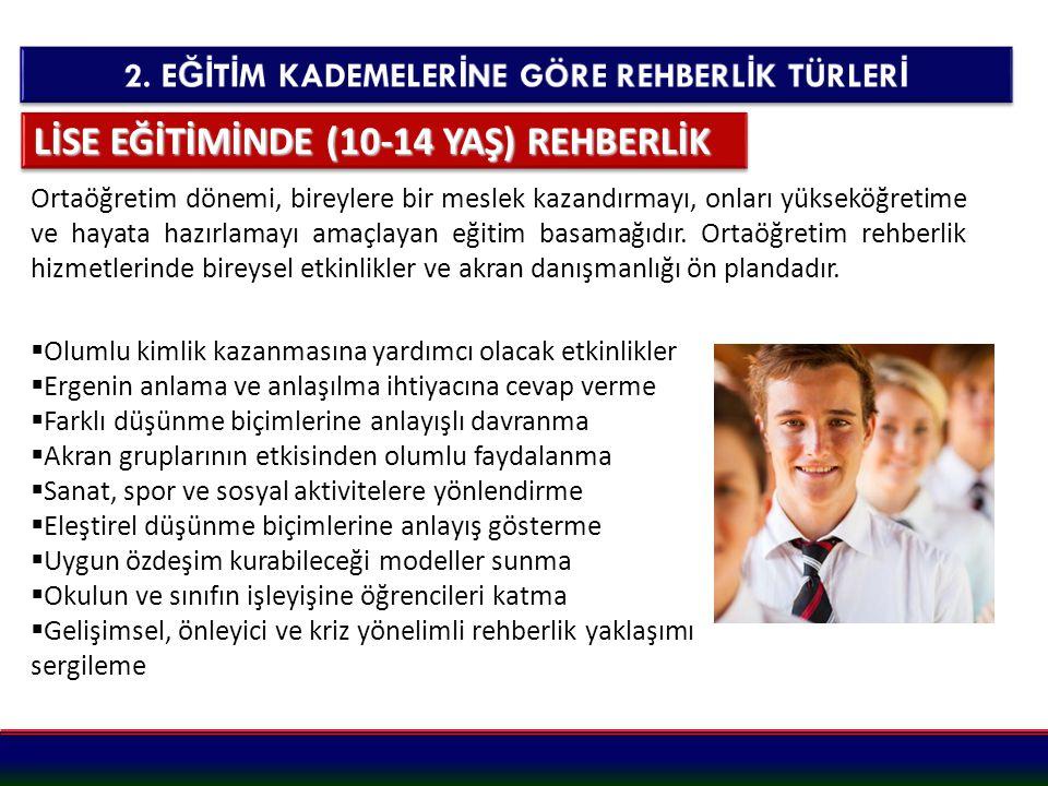 LİSE EĞİTİMİNDE (10-14 YAŞ) REHBERLİK