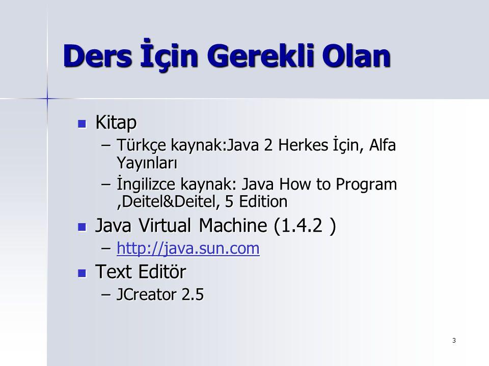 Ders İçin Gerekli Olan Kitap Java Virtual Machine (1.4.2 ) Text Editör