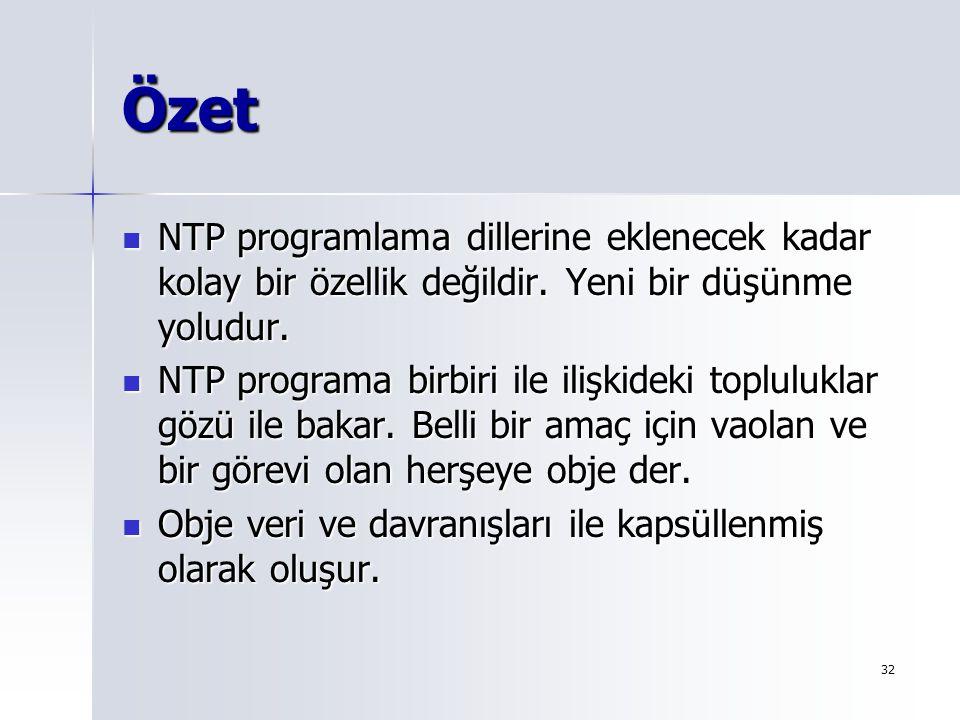 Özet NTP programlama dillerine eklenecek kadar kolay bir özellik değildir. Yeni bir düşünme yoludur.