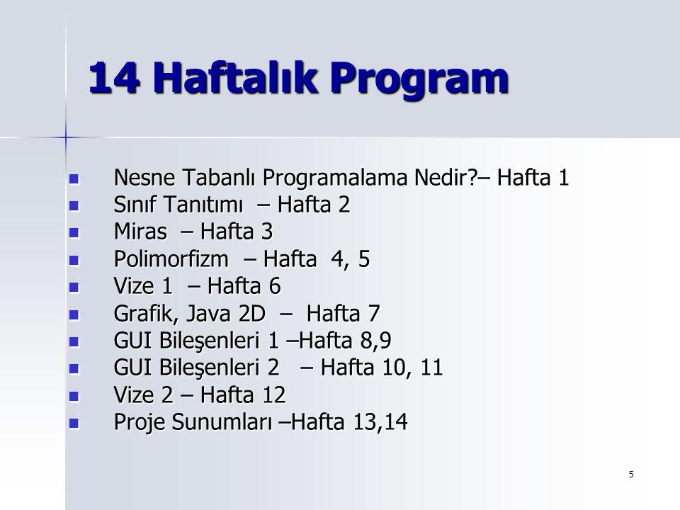 14 Haftalık Program Nesne Tabanlı Programalama Nedir – Hafta 1