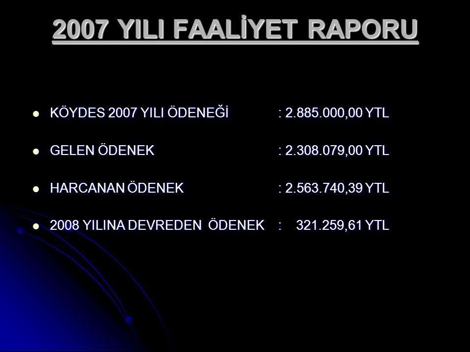 2007 YILI FAALİYET RAPORU KÖYDES 2007 YILI ÖDENEĞİ : 2.885.000,00 YTL