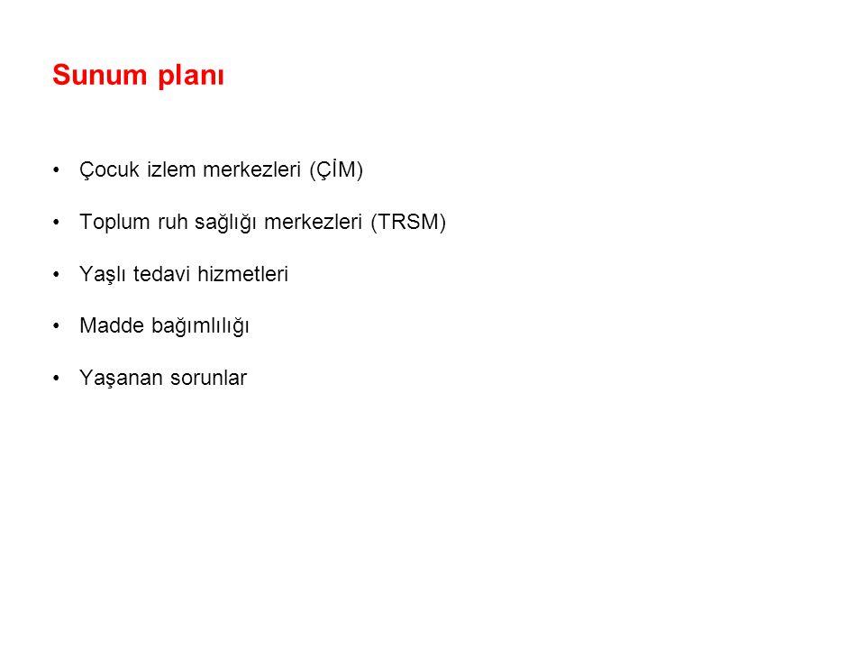 Sunum planı Çocuk izlem merkezleri (ÇİM) Toplum ruh sağlığı merkezleri (TRSM) Yaşlı tedavi hizmetleri.