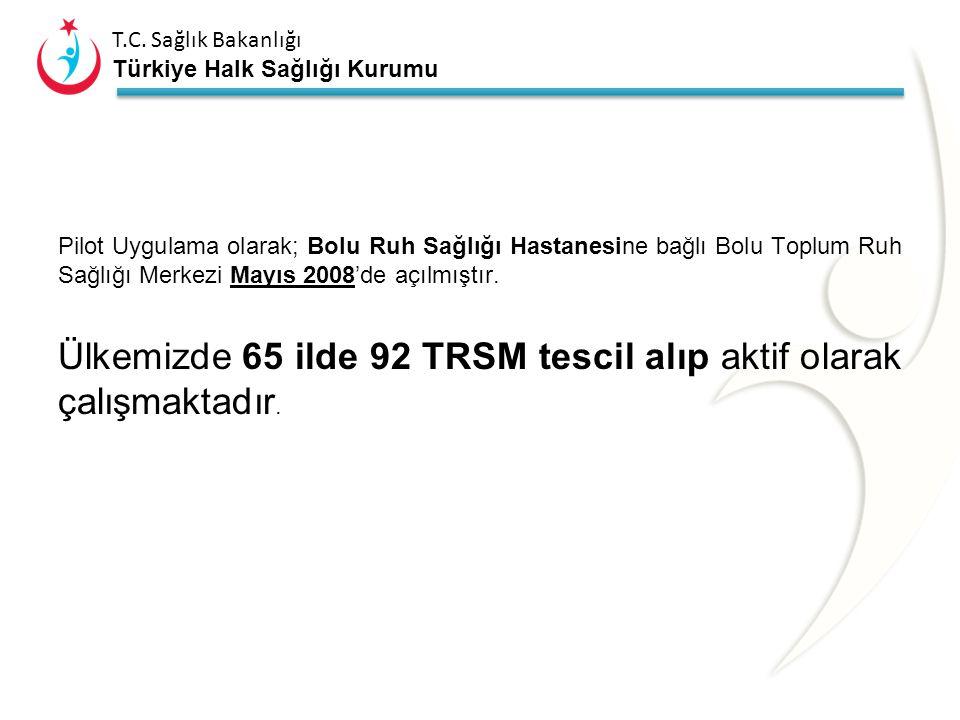 Ülkemizde 65 ilde 92 TRSM tescil alıp aktif olarak çalışmaktadır.