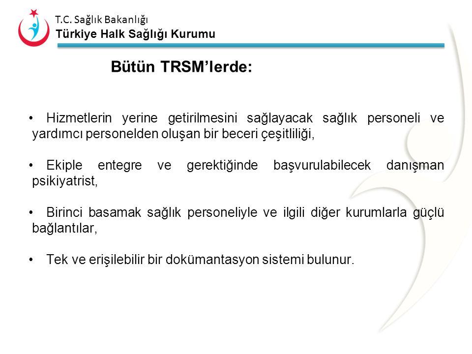 Bütün TRSM'lerde: Hizmetlerin yerine getirilmesini sağlayacak sağlık personeli ve yardımcı personelden oluşan bir beceri çeşitliliği,