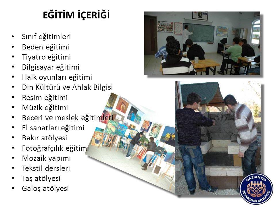 EĞİTİM İÇERİĞİ Sınıf eğitimleri Beden eğitimi Tiyatro eğitimi