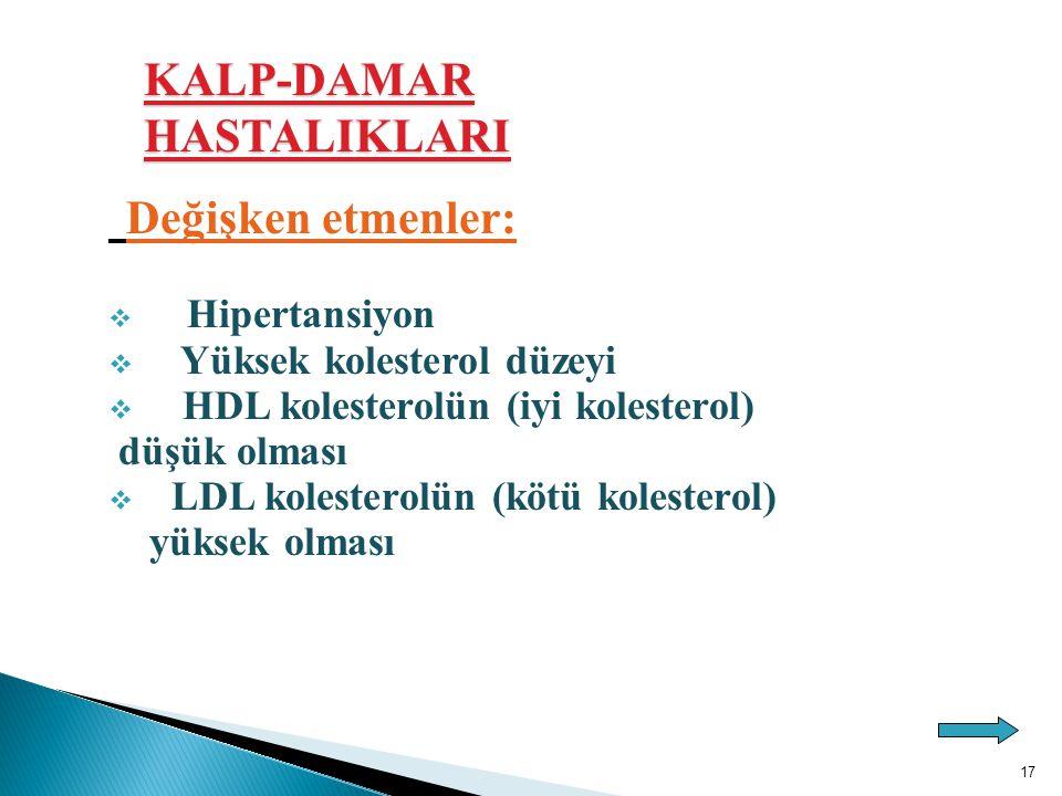 Değişken etmenler: KALP-DAMAR HASTALIKLARI Yüksek kolesterol düzeyi