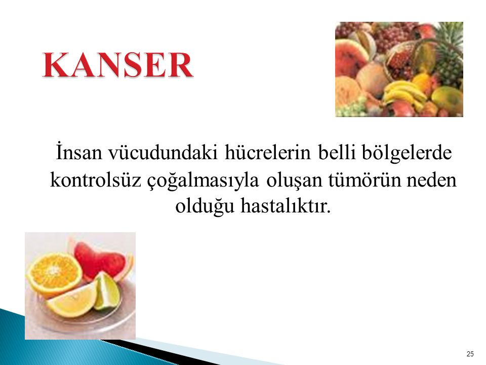 KANSER İnsan vücudundaki hücrelerin belli bölgelerde kontrolsüz çoğalmasıyla oluşan tümörün neden olduğu hastalıktır.