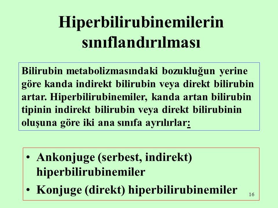 Hiperbilirubinemilerin sınıflandırılması