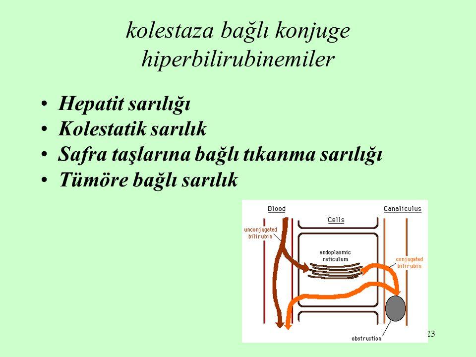 kolestaza bağlı konjuge hiperbilirubinemiler