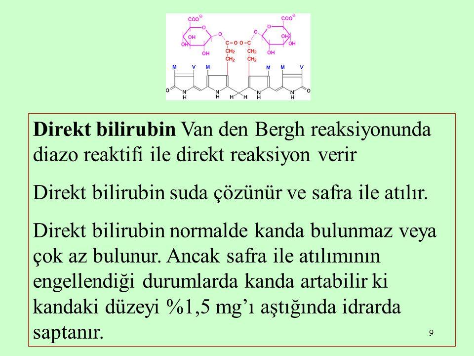 Direkt bilirubin Van den Bergh reaksiyonunda diazo reaktifi ile direkt reaksiyon verir