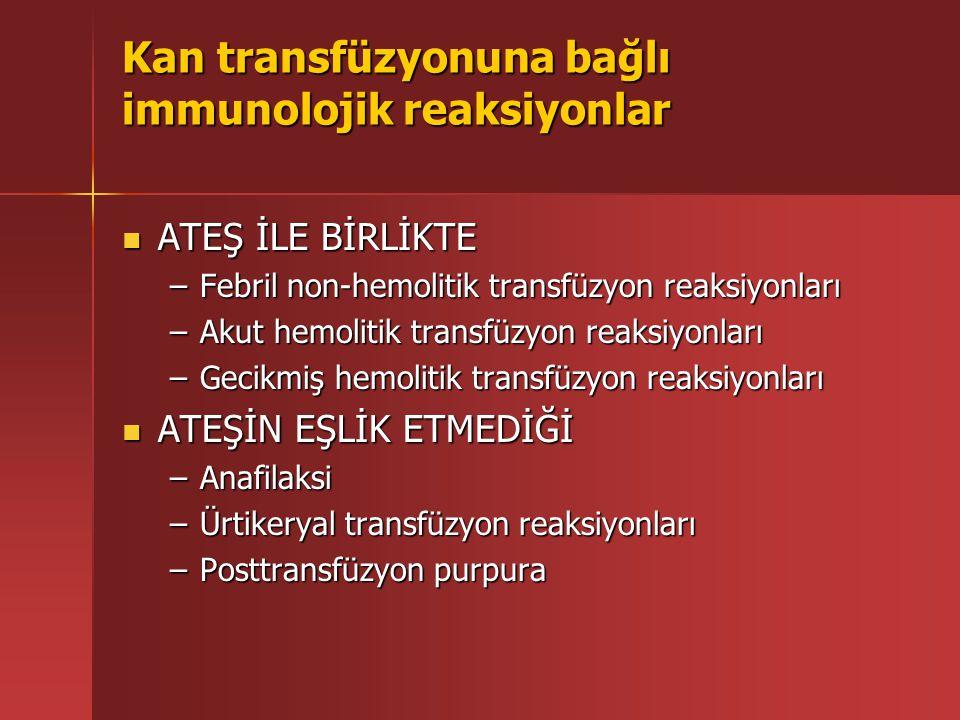 Kan transfüzyonuna bağlı immunolojik reaksiyonlar