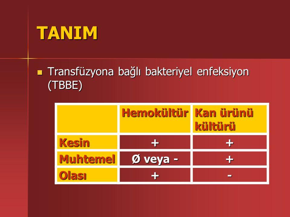 TANIM Transfüzyona bağlı bakteriyel enfeksiyon (TBBE) Hemokültür