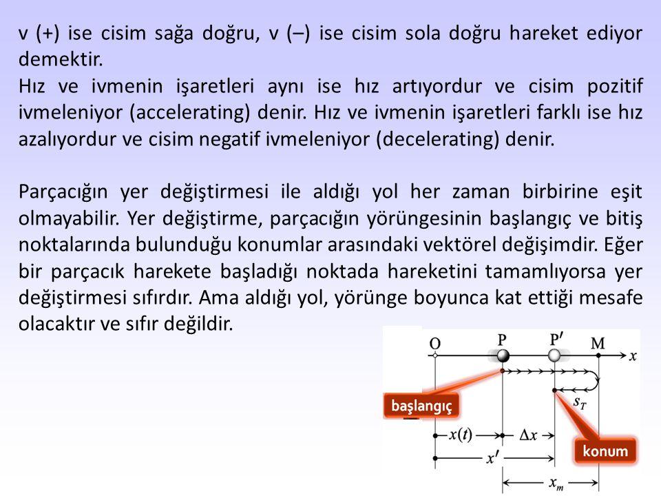v (+) ise cisim sağa doğru, v (–) ise cisim sola doğru hareket ediyor demektir.