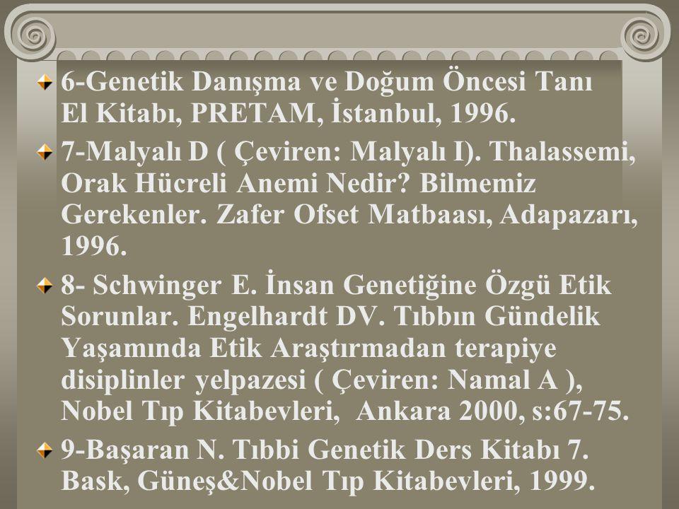 6-Genetik Danışma ve Doğum Öncesi Tanı El Kitabı, PRETAM, İstanbul, 1996.