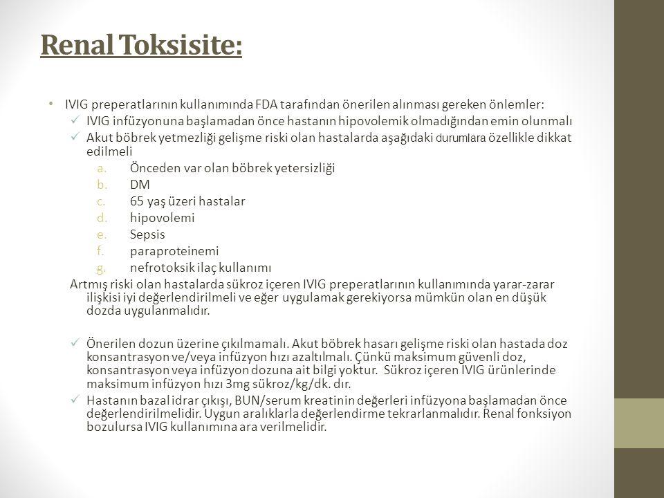 Renal Toksisite: IVIG preperatlarının kullanımında FDA tarafından önerilen alınması gereken önlemler: