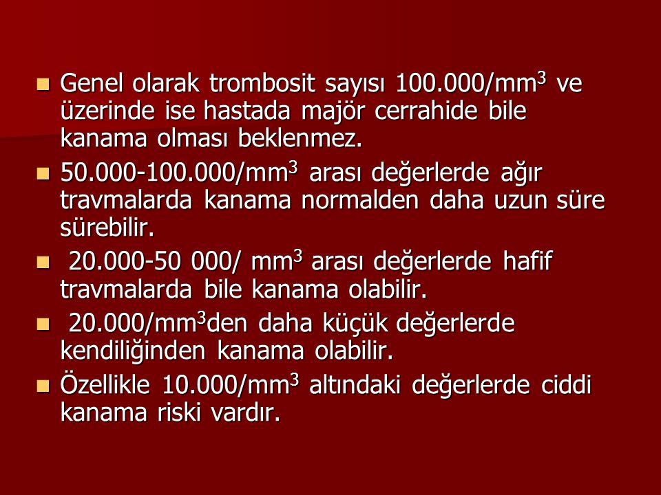 Genel olarak trombosit sayısı 100