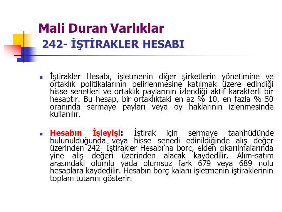 Mali Duran Varlıklar 242- İŞTİRAKLER HESABI