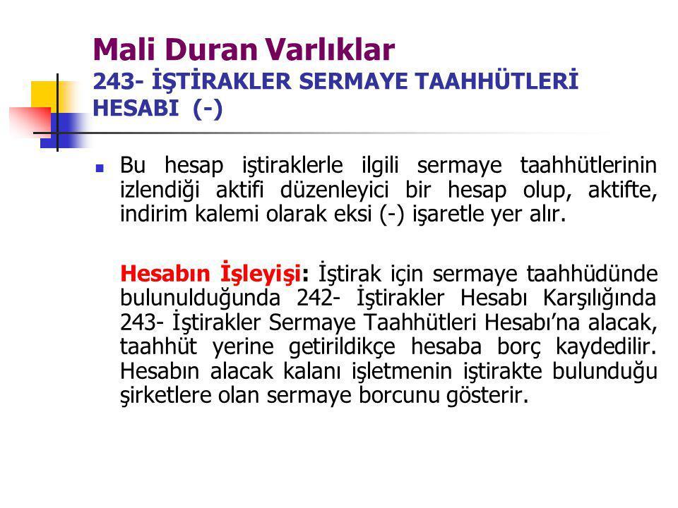 Mali Duran Varlıklar 243- İŞTİRAKLER SERMAYE TAAHHÜTLERİ HESABI (-)