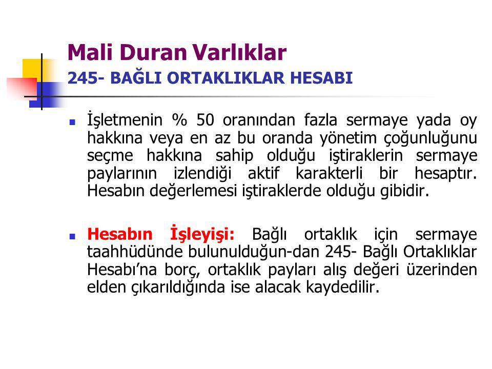 Mali Duran Varlıklar 245- BAĞLI ORTAKLIKLAR HESABI