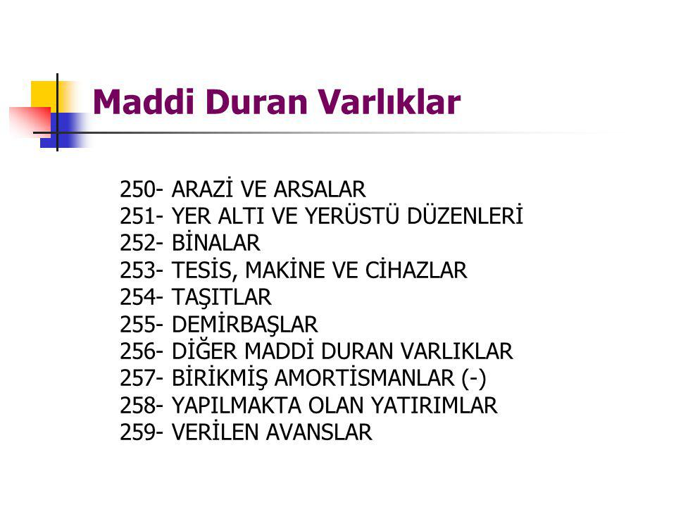 Maddi Duran Varlıklar 250- ARAZİ VE ARSALAR