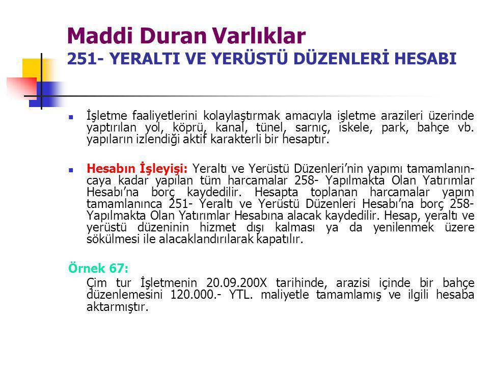 Maddi Duran Varlıklar 251- YERALTI VE YERÜSTÜ DÜZENLERİ HESABI