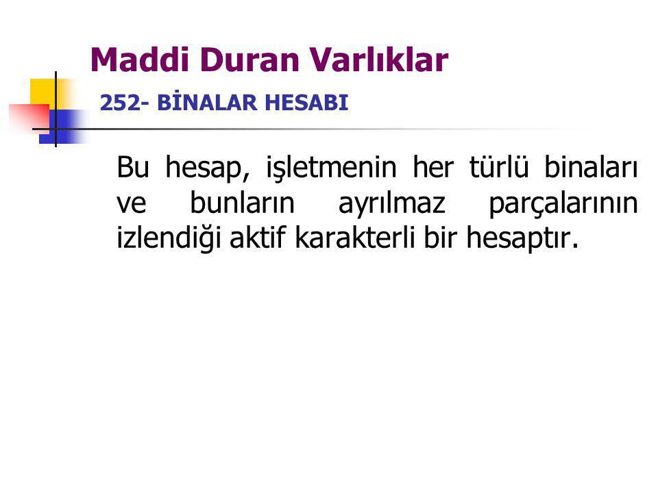 Maddi Duran Varlıklar 252- BİNALAR HESABI