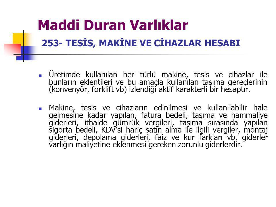 Maddi Duran Varlıklar 253- TESİS, MAKİNE VE CİHAZLAR HESABI