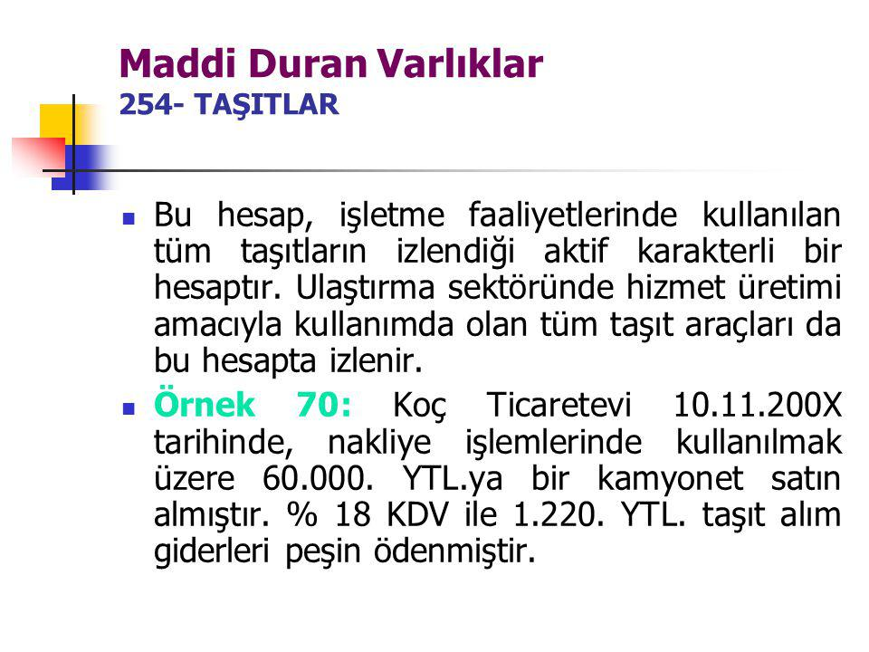 Maddi Duran Varlıklar 254- TAŞITLAR