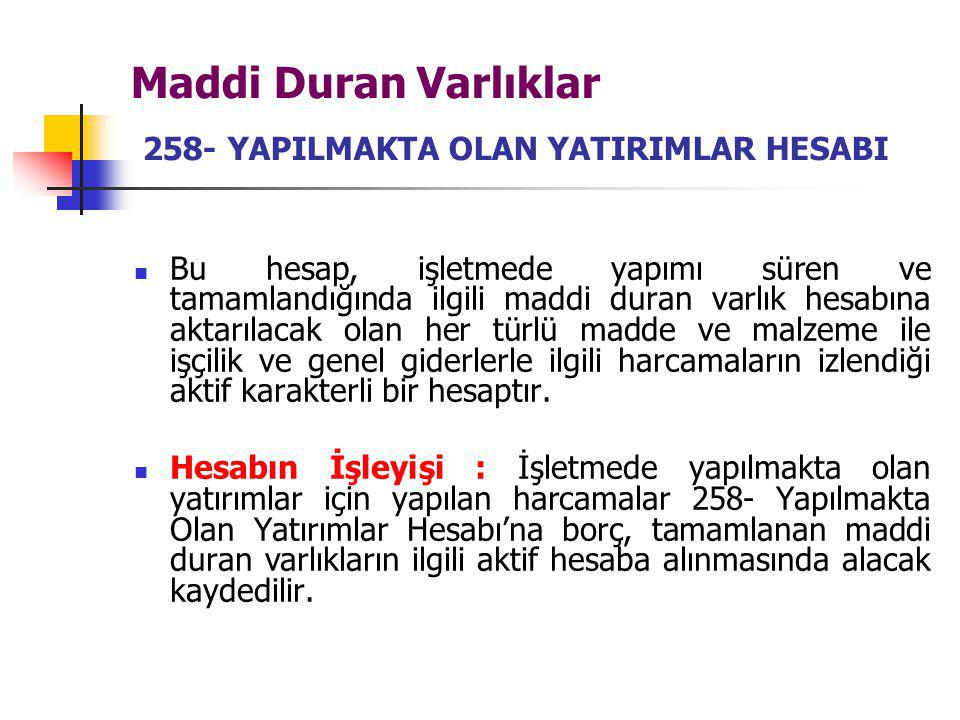 Maddi Duran Varlıklar 258- YAPILMAKTA OLAN YATIRIMLAR HESABI