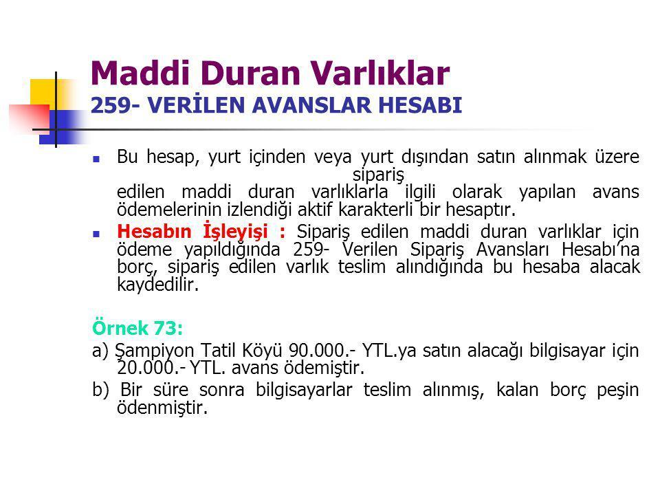 Maddi Duran Varlıklar 259- VERİLEN AVANSLAR HESABI