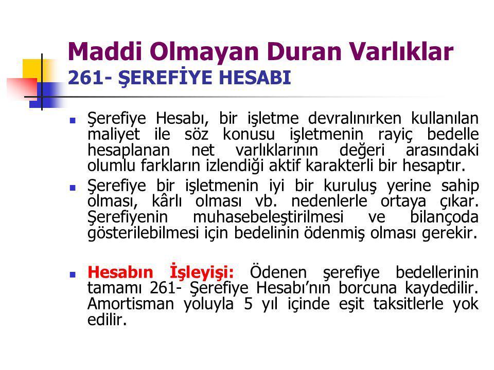 Maddi Olmayan Duran Varlıklar 261- ŞEREFİYE HESABI