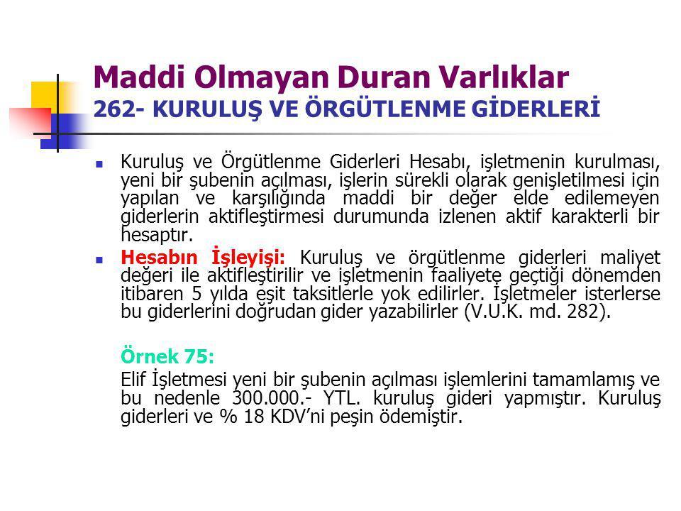 Maddi Olmayan Duran Varlıklar 262- KURULUŞ VE ÖRGÜTLENME GİDERLERİ