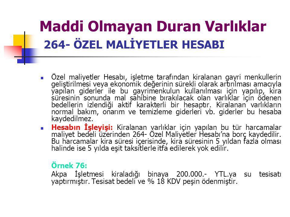 Maddi Olmayan Duran Varlıklar 264- ÖZEL MALİYETLER HESABI