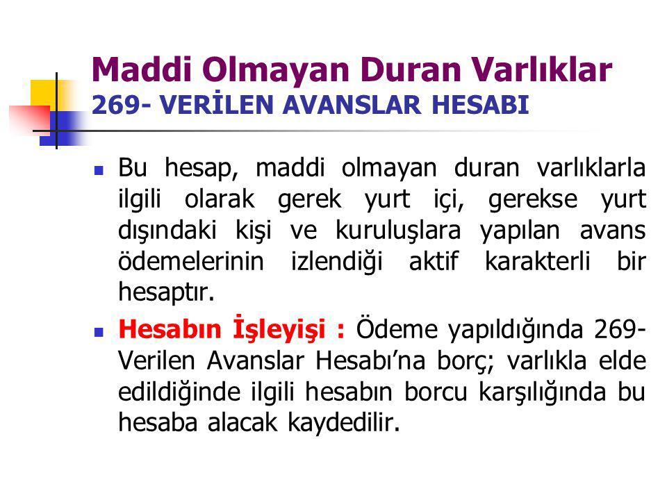 Maddi Olmayan Duran Varlıklar 269- VERİLEN AVANSLAR HESABI