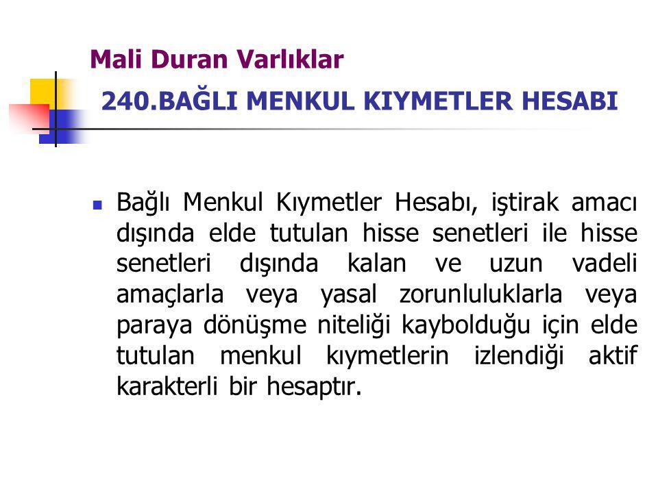 Mali Duran Varlıklar 240.BAĞLI MENKUL KIYMETLER HESABI
