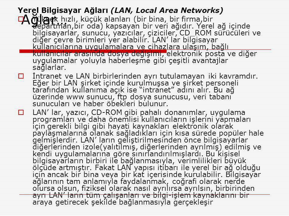 Ağlar… Yerel Bilgisayar Ağları (LAN, Local Area Networks)