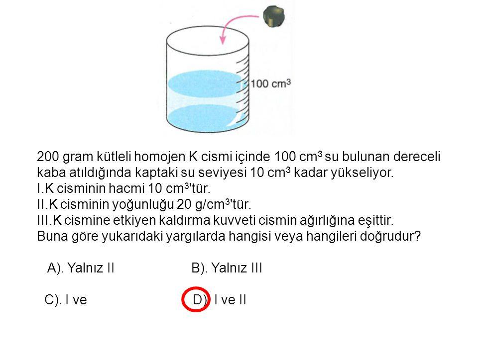 200 gram kütleli homojen K cismi içinde 100 cm3 su bulunan dereceli kaba atıldığında kaptaki su seviyesi 10 cm3 kadar yükseliyor.