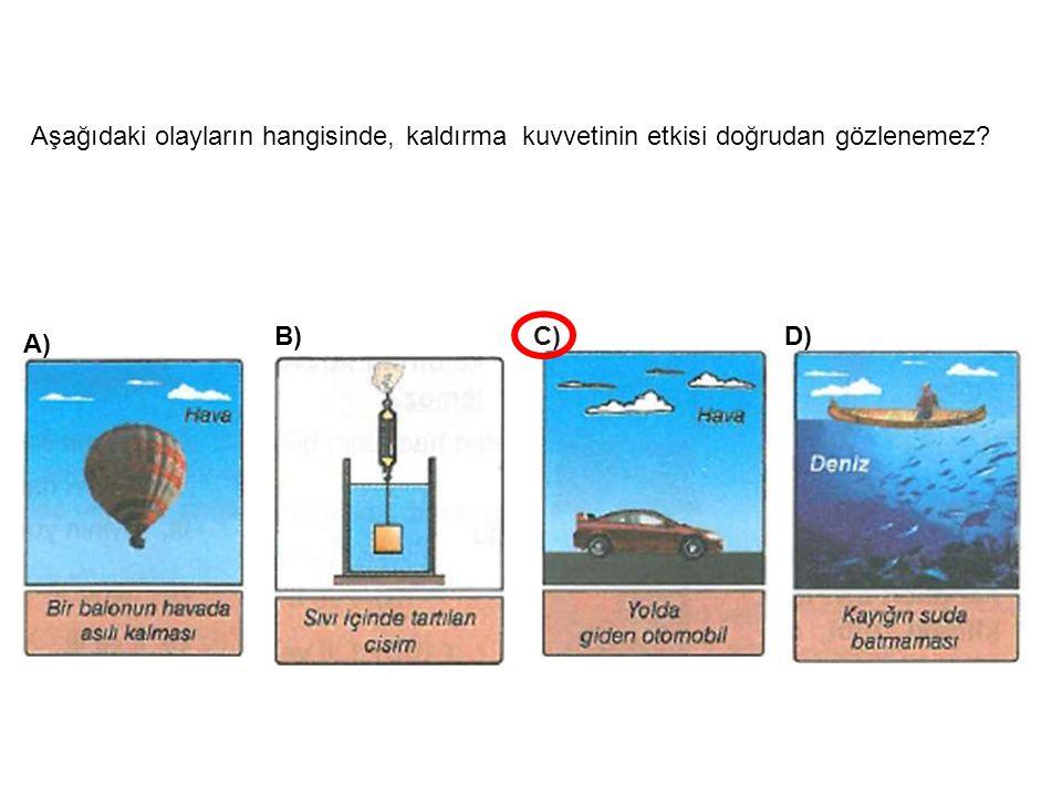 Aşağıdaki olayların hangisinde, kaldırma kuvvetinin etkisi doğrudan gözlenemez