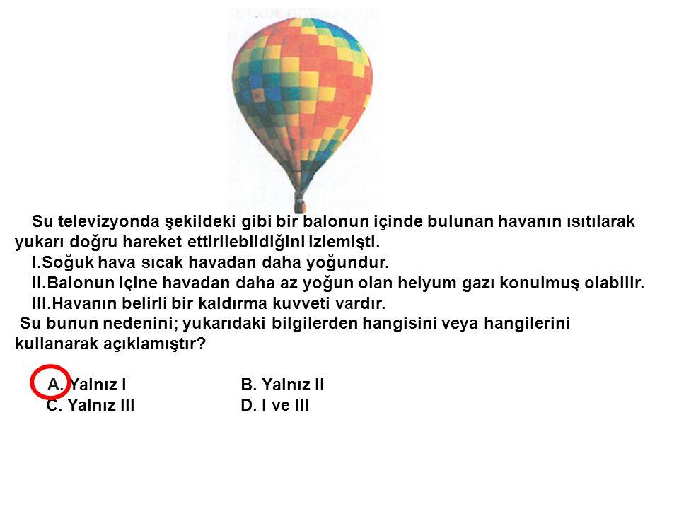 Su televizyonda şekildeki gibi bir balonun içinde bulunan havanın ısıtılarak yukarı doğru hareket ettirilebildiğini izlemişti.