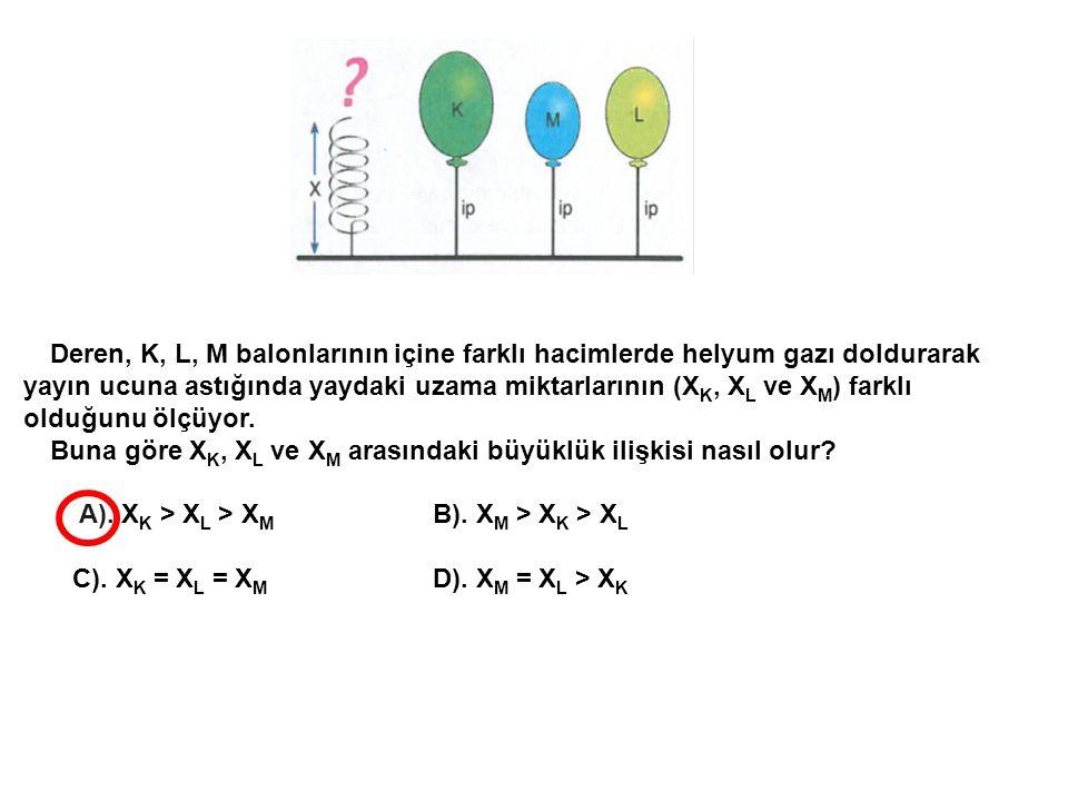 Deren, K, L, M balonlarının içine farklı hacimlerde helyum gazı doldurarak yayın ucuna astığında yaydaki uzama miktarlarının (XK, XL ve XM) farklı olduğunu ölçüyor.