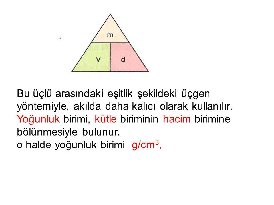 Bu üçlü arasındaki eşitlik şekildeki üçgen yöntemiyle, akılda daha kalıcı olarak kullanılır.