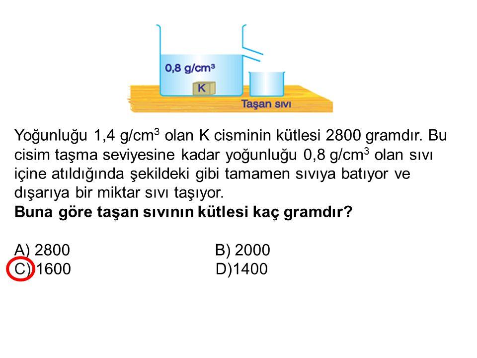 Yoğunluğu 1,4 g/cm3 olan K cisminin kütlesi 2800 gramdır