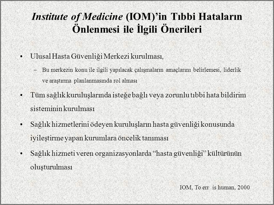 Institute of Medicine (IOM)'in Tıbbi Hataların Önlenmesi ile İlgili Önerileri