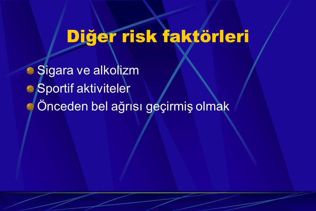 Diğer risk faktörleri Sigara ve alkolizm Sportif aktiviteler
