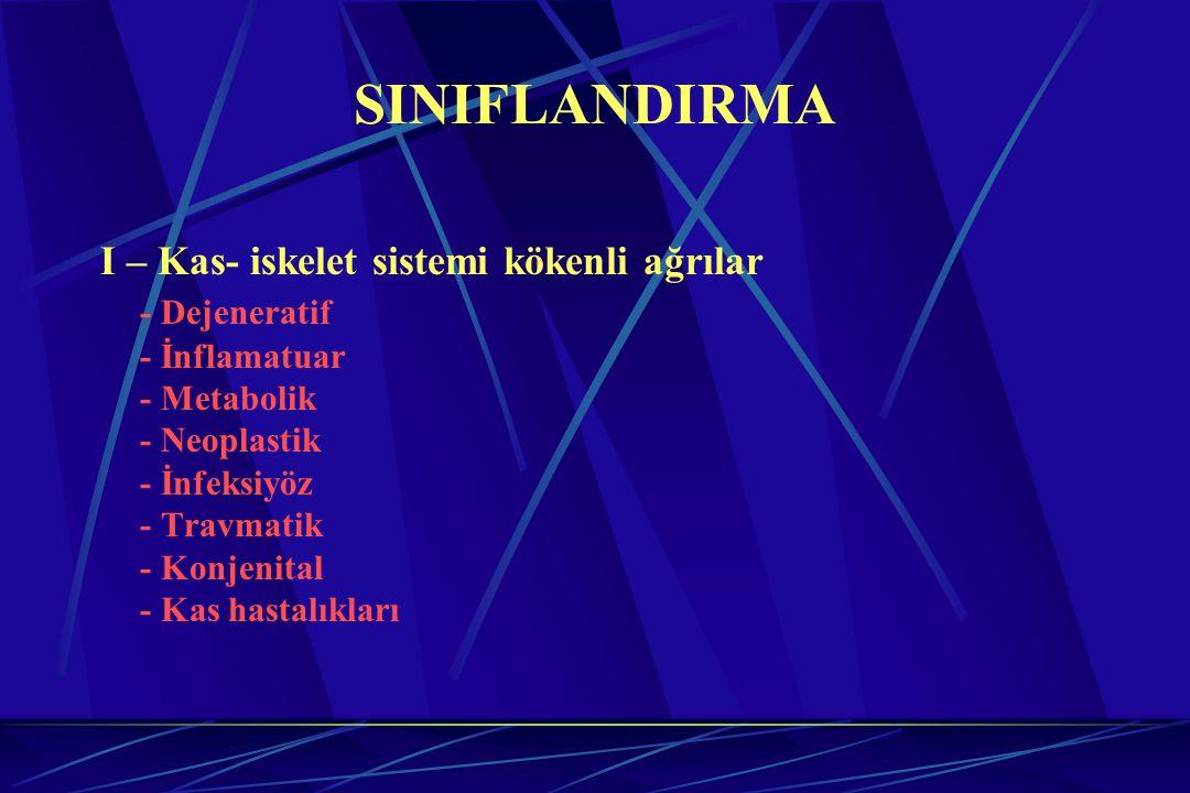 SINIFLANDIRMA I – Kas- iskelet sistemi kökenli ağrılar - Dejeneratif